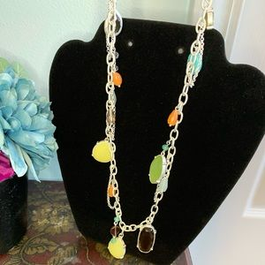 Lia Sophia Multi-Gem Drop Necklace